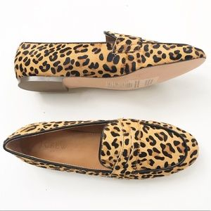 J CREW Calf Hair Loafers NEW size 8 Leopard Animal